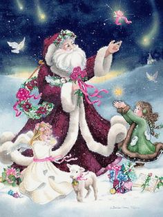 Christmas Santa, Free Santa Graphic with Angel and Child, Free Christmas Graphics from Targetit It Marketing Purple Christmas, Christmas Scenes, Christmas Past, Father Christmas, Christmas Pictures, Christmas Colors, Christmas Holidays, Xmas, Christmas Room
