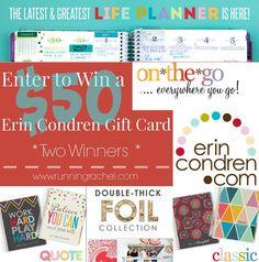 Win Erin Condren $50 Gift Card from @RunningRachel and get have an #Organized2015 !