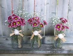 Votive Candle Holder / Shabby Chic Wedding Decoration / Rustic Wedding Decoration / Mason Wedding Jar Decor / Votive Holder and Vase Set / 3 on Etsy, $24.99