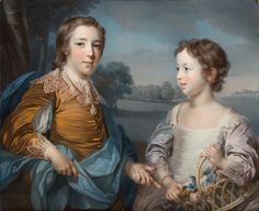 """Portrait of Joseph (1741-1786) and his Brother John Gulston (1750-1764); Francis Cotes (British, 1726 - 1770); 1754; Pastel on blue paper; in original gilt wood, """"Carlo"""", frame; 67.3 × 82.6 cm (26 1/2 × 32 1/2 in.); 99.PC.33"""