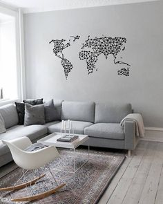 Geometric World Map Wall Decal. Completely Removable. Supplied with pre-fixed application tape for easy application and instructions with picture diagrams. Long-lasting and easy to apply. Perfect way for stylishly dressing a wall with no need for painting or screws! Offered to you