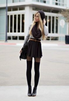 fall fashion beanie scarf tights stripes purse black white shirt  http://simplybeauteous.blogspot.sk