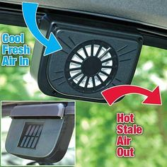 This is a brand new solar powered car/truck ventilation cooling fan. Keeps your parked car cooler in hot weather. Blows hot air out, and dra...