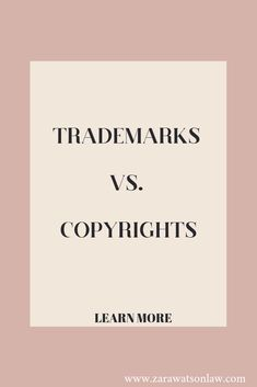 I'm often asked if copyrights and trademarks are the same things. If you're wondering, the quick answer is no. I'm excited to finally explain the difference between the two and to hopefully clear up any confusion once and for all! Legal Business, Business Education, Online Business, Business Articles, Business Tips, Study Tips, Helpful Hints, Law, Legal Questions