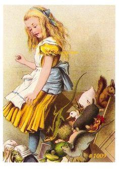 Vintage REPRO John Tenniel Alice In Wonderland Fabric Block 8x10. $15.00, via Etsy.