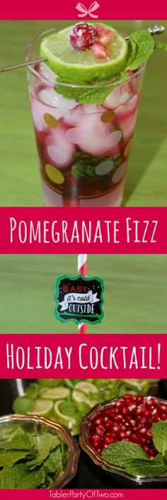 This New Year's Eve cocktail features lime, mint and cranberry pomegranate juice. The garnish really makes this drink pop! Yum… juicy pomegranate seeds and a lime wheel!
