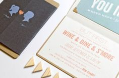 Silhouette and Chevron Stripe Wedding Invitations by Lilly and Louise via Oh So Beautiful Paper (13)