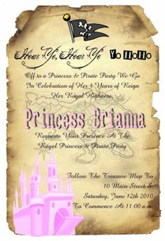 Custom Pink Pirate Map Princess Old Scroll Party Invitations