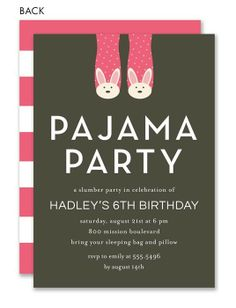 Bunny Slippers Pink Pajama Party Invitation