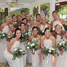 Cream chiffon bridesmaid dresses by Amsale.