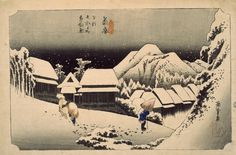 WORK 17 (PRINT COLLECTION) Hiroshige, Fifty-three Stations of the Tokaido, Station 16: Night Snow at Kambara, coloured woodcut, 1833. All images © Whitworth Art Gallery, The University of Manchester.