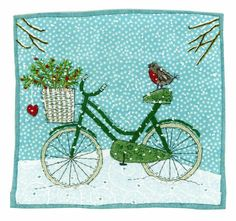 Photos and Videos Freehand Machine Embroidery, Machine Embroidery Projects, Free Motion Embroidery, Free Machine Embroidery, Diy Christmas Tree Skirt, Christmas Sewing, Christmas Quilting, Christmas 2019, Fabric Postcards