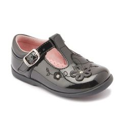 Black patent girls shoes with a t-bar buckle. These shoes feature a pretty flower design on the front and are made from high quality soft leather making them ideal first walking shoes Kids Clothes Uk, Kids Clothes Patterns, Kids Clothing, Toddler Shoes, Boys Shoes, Kids Shoes Online, Shoe Deals, School Shoes, Kids Fashion