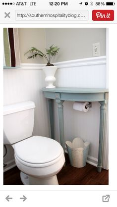 Wooden Table Storage Over The Toilet Built With And Edge So Things Don T Fall To Floor If Ped Home Pinterest Tables