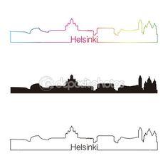 Estilo lineal de horizonte de Helsinki con arco iris — Vector de stock #42863213 Helsinki, City Logo, Royalty, Silhouette, Image, Art, Bow Braid, History, Illustrations