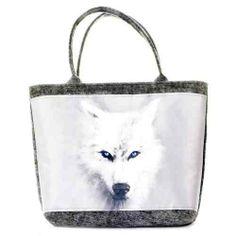 white wolf Duża, prosta w formie torebka z szarego stabilizowanego filcu z poliestru (3,5-4 mm), pierwszej jakości, produkcji polskiej. Torebka bardzo pojemna, zapinana na zamek w KuferArt.pl