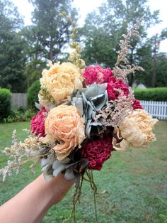 Bouquet with Naturally Dried Pink Yellow by thecoralboutique, $65.00