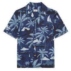 Percival Indigo Fern Cuban Short Sleeve Shirt (445 MYR) ❤ liked on Polyvore featuring men's fashion, men's clothing, men's shirts, men's casual shirts, shirts, tops, mens short sleeve cotton shirts, mens cotton shirts, mens summer shirts and mens collared shirts