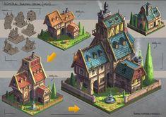 Isometric Villa Design by JonathanDufresne on DeviantArt Level Design, Bg Design, Prop Design, Game Design, Villa Design, Isometric Map, Isometric Drawing, Isometric Design, Fantasy City