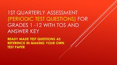 Ready Made Test Questions with TOS and Answer Key for Grades Quarter) Grade 6 Math, Math 8, Math Talk, Grade 3, Grade 1 Lesson Plan, Math Lesson Plans, Lesson Plan In Filipino, Summative Test, Diversity In The Classroom