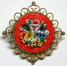 Vintage Red Micro Mosaic Floral Brooch Pin Italy.