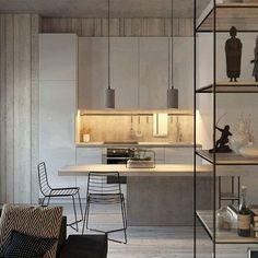 Inspiração: clean, open, light #dreamkitchen #openspace #myapartment #myplace #greylove #sonhodeape #cozinhadossonhos #moderndesign #revestimento
