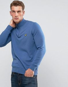 Lyle & Scott 1/4 Zip Merino Sweater Blue - Blue