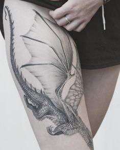 Dragon Tattoo Leg, Dragon Tattoo For Women, Dragon Sleeve Tattoos, Tattoos Skull, Irezumi Tattoos, Dragon Tattoo Designs, Sleeve Tattoos For Women, Foot Tattoos, Tattoo Designs Men