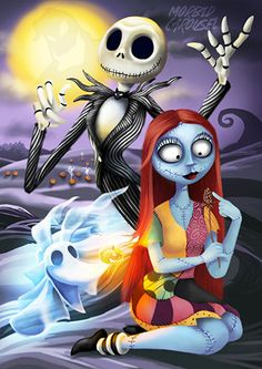 Nightmare Before Christmas Jack & Sally Large A1 Poster Art Print Giclee