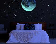 Glow in the Dark Star Stickers Glow in Dark Star Ceiling Ceiling Murals, Bedroom Ceiling, Bedroom Wall, Diy Star, Romantic Bedroom Decor, Shabby Bedroom, Shabby Cottage, Shabby Chic, Glow Paint