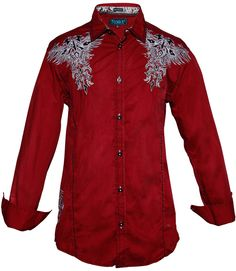 - Men's long sleeve button down shirt - Stretch fabrication - Rhinestone accents - Detail embroideries - Contrast Stitching - Slim cut - 98%cotton/2%spandex Color: Red