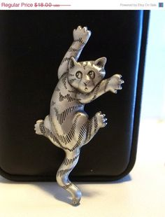 JJ Scared Cat pin brooch by dollherup on Etsy, $12.00 #Jewelry #cats