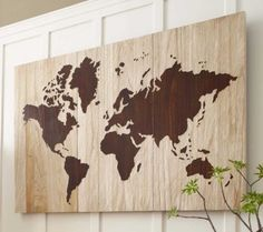 World Map Wall Art.. this has given me some DIY idea's for my spare canvas.