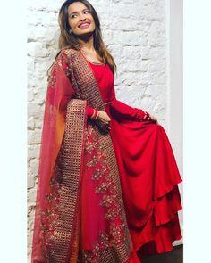 Grand Red Anarkali Design