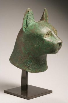 Head of a Cat (bronze, height: 13.6 cms). Late Period, ca. 664-332 BC.