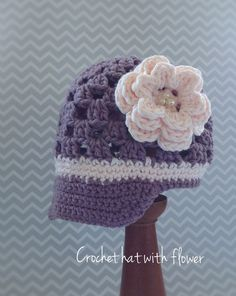 Girls Crochet Flower Hat.
