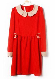 Red Buttons Zip Lapel Long Sleeve Cotton Blend Dress