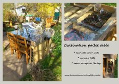 Combining three pallets and some glass to make a table with a triple function: regular garden table use, cultivating seeds and extra storage space in the legs. If you want to know more, feel free to 1001 Pallets, Recycled Pallets, Wooden Pallets, Pallet Greenhouse, Pallets Garden, Pallet Gardening, Urban Gardening, Wood Planter Box, Wood Planters