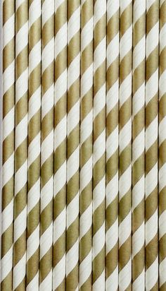 100 Gold Striped Paper Straws, Striped Paper Straws, Retro Vintage Straws, Carnival Circus Wedding Birthday Bridal Baby Shower W/ pdf Flags on Etsy, $15.95