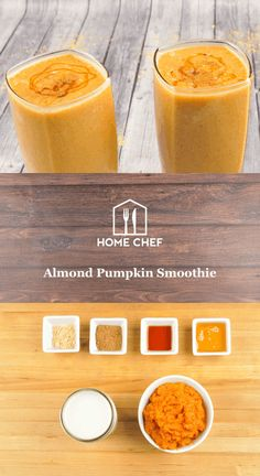 It's pumpkin spice season y'all! If you're down with getting your autumnal flavor on - you'll love this smoothie. Aromatic ginger, smooth vanilla, and sweet honey give you all the satisfaction of a pumpkin pie, without the guilt. Pumpkin Smoothie, Apple Smoothies, Yummy Smoothies, Smoothie Recipes, Ginger Smoothie, Smoothie Blender, Smoothie Prep, Hello Fresh Recipes, Juicy Juice