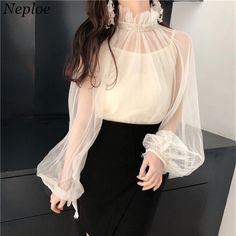 Neploe Sexy See-through Mesh Women Shirts 2018 Spring Fashion Beading Solid Two-piece Blouse Patchwork Female Blusas (cm) Bust(cm) Waist(cm) Length(cm) Sleeve Length(cm) - - - - - - Tank Top - 72 - 43 - - - - - - - - - - - - - - - - - - Look Fashion, Korean Fashion, Girl Fashion, Fashion Dresses, Fashion Design, Spring Fashion, Classy Outfits, Chic Outfits, Spring Outfits