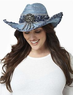 A little rodeo goes a long way on this unique cowboy hat. Denim-like fabric creates a stand-out design, while rows of rhinestones, sequins and rosette embellishments accent the brim. A dangling medallion with rhinestone tassels and cluster beads takes center stage. Comes with a band inside with a toggle tie for stay-put fit. Catherines accessories are customized in size and scale for the plus size woman. catherines.com
