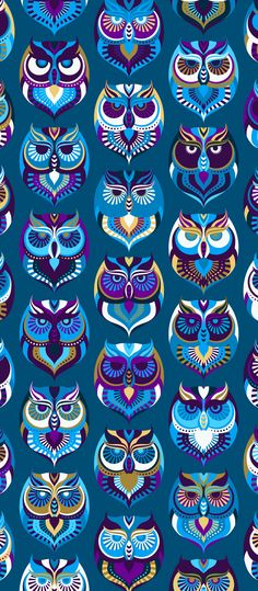 Russfussuk 'Parliament' D7A #pattern #patterndesign #surfacepattern #patternprint #owl #bird #night #generative #geometria #padrões #russfussuk