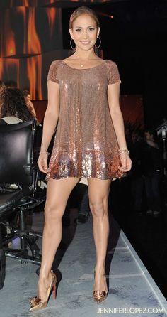 J.Lo in a sparkling metallic dress