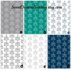 Custom fitted crib sheet and changing pad  in Happy Camper by SweetDreamsBedding on Etsy