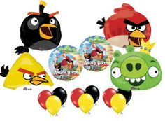 "Angry Birds Ultimate Balloon Birthday Party Supply Kit 4 Bird Pig Set Mylar (15) by Anagram. $22.99. (1) 23"" Yellow Bird shaped Mylar Balloon   (1) 23"" Red Bird shaped Mylar Balloon   (1) 23"" Green Pig with crown shaped Mylar balloon   (1) 24"" Black Bird shaped Mylar balloon    (2) 18"" round foil balloons with Angry Birds theme   (3 each) Ruby Red, Yellow and Onyx Black 11"" Qualatex latex balloons"