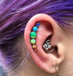 The Aries Witch ♈ Body piercing jewellery - unique conch ear stud - purple coloured hair: