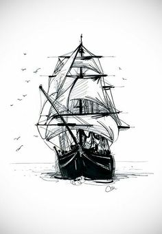 """Ship tattoo concept """"Everyone stay calm, we're taking over the ship. Bad Tattoos, Tattoos For Guys, Cool Tattoos, Ship Tattoos, Ship Drawing, Drawing Drawing, Nautical Art, Small Paintings, Ship Art"""