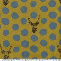 Tissu Echino Rênes à lunettes pois gris fond moutarde 20 cm x 110 cm