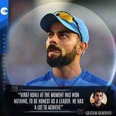 """Gautam Gambhir reckons Virat Kohli has achieved """"nothing"""" as a leader and has a long way to go before he is rated among the great captains Cricket Quotes, Virat Kohli, Famous Quotes, In This Moment, Baseball Cards, Sports, Famous Qoutes, Hs Sports, Sport"""